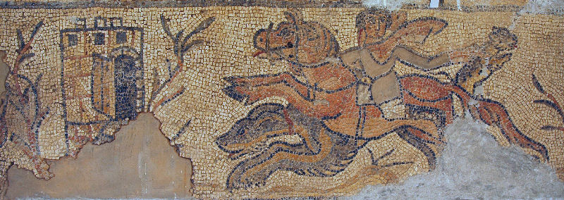 Cyrene, Eastern basilica, Mosaic of a hunter on horseback