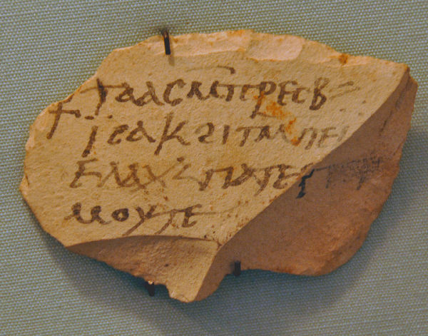 Sahidic ostracon from Thebes