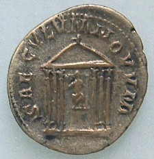 Coin commemorating Rome's 1000th birthday, showing the Temple of Venus and Roma