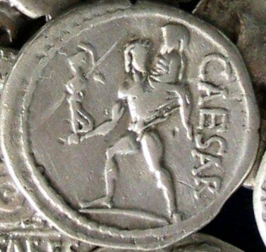 Coin of Julius Caesar, showing Aeneas, making his escape from Troy.