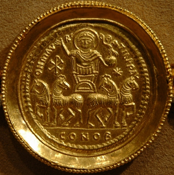 Maurice in a chariot, coin