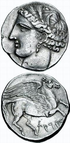 Carthaginian coin from the First Punic War: the Carthaginian goddess Tanit and the Greek mythological creature Pegasus