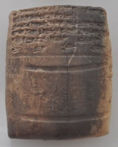 Cuneiform letter from Tell Brak. It displays the seal of a ruler of Nuzi named Saustatar, who writes that this seal is, from now on, being used by king Tušratta of Mitanni. Museum of Deir es-Zor (Syria).