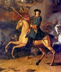 Peter the Great al Poltava (Painting by Louis Karavack, Hermitage)