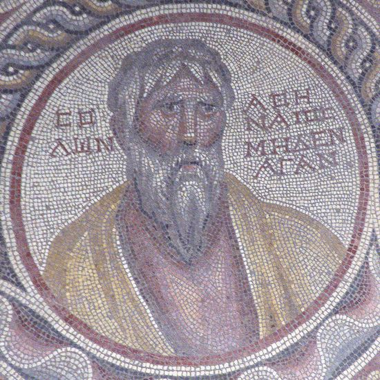 Solon, mosaic from Suweydie near Baalbek. National Museum, Beirut (Lebanon)