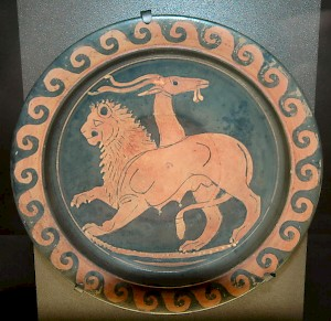 Greek plate with a picture of the Chimaera. Louvre, Paris (France)