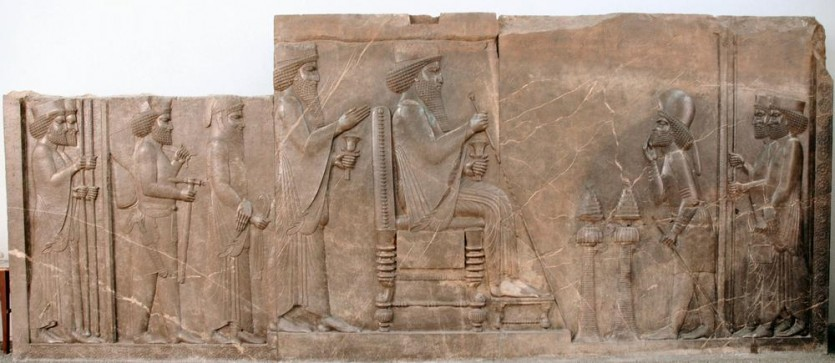 Central Relief of the North Stairs of the Apadana, Persepolis, now in the Archaeological Museum in Tehran (Iran).