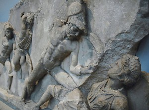 Achilles kills Penthesileia: a scene from the Aethiopis, shown on the Mausoleum of Halicarnassus. British Museum, London (Britain)