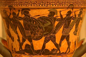 The fight for the body of Patroclus. National Archaeological Museum, Athens (Greece)