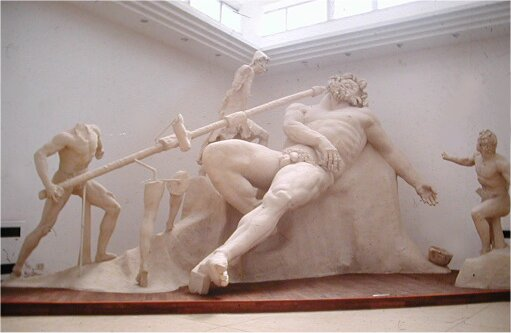 A giant statue of Odysseus and his friends blinding the cyclops Polyphemus, found in Sperlonga.