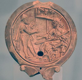 Odysseus and Helios. Oil lamp from the Antikensammlung, München (Germany)