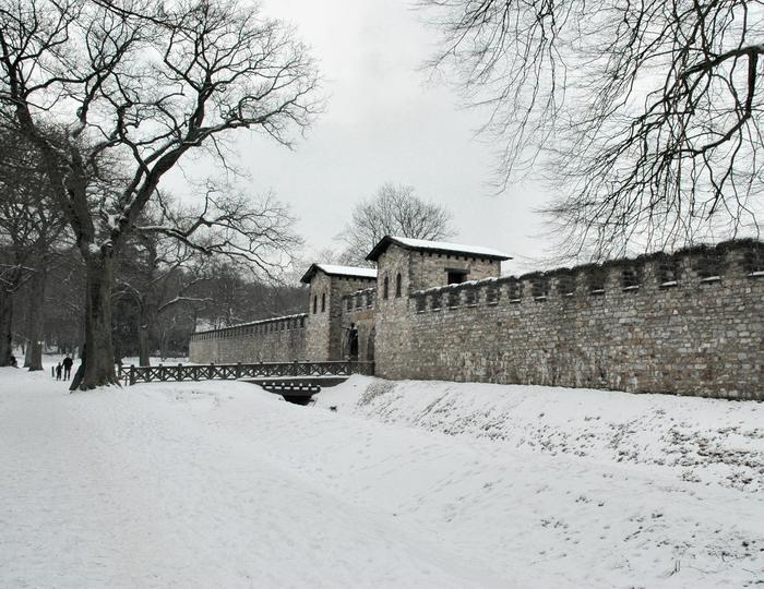 Saalburg in the snow