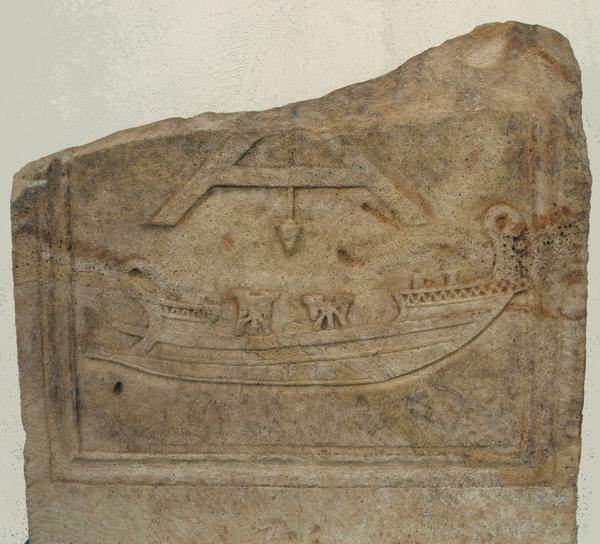 Tombstone of a carpenter with a relief of a warship