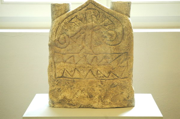 Trier, Frankish tombstone with christogram
