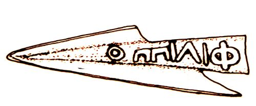 "Olynthus, arrowhead with inscription ""Philip"", drawing"