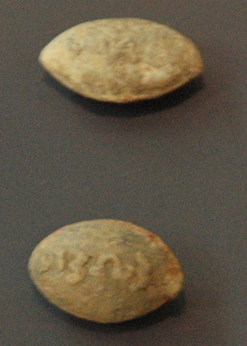 Olynthus, Slingstones with inscription