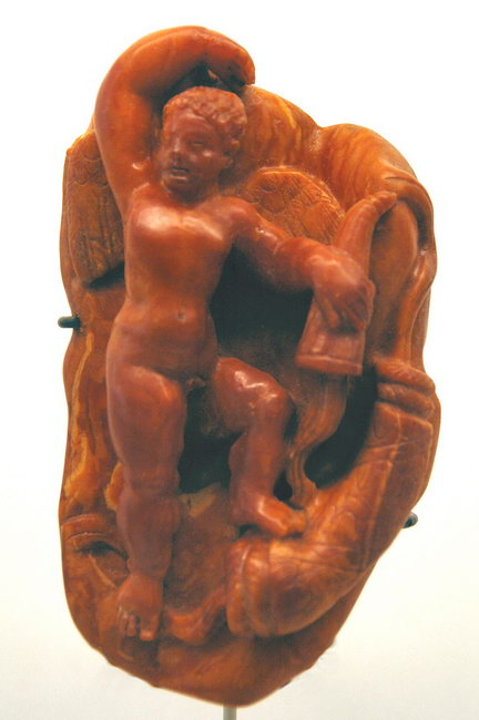 Amber carving of Amor