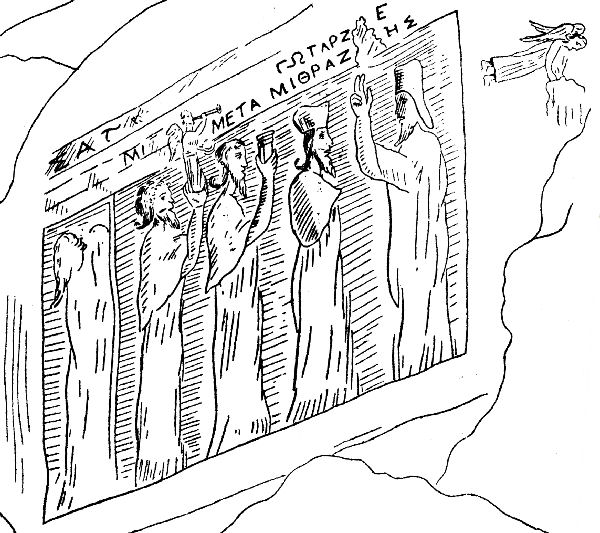 Behistun, Parthian relief of Mithradates II, drawing