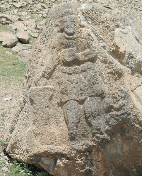 Behistun, Free-standing rock relief of king Vologases
