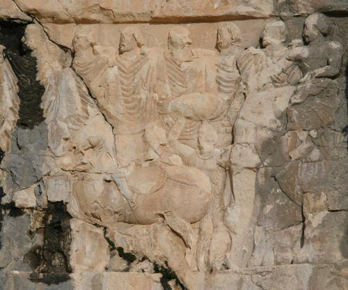Bishapur, Relief 3, tribute bearers with a elephant