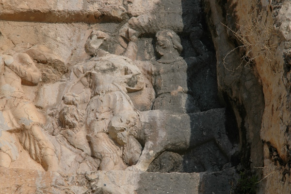 Bishapur, Relief 3, tribute bearers with lions