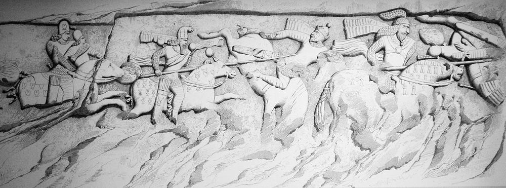 Firuzabad, relief 1, drawing