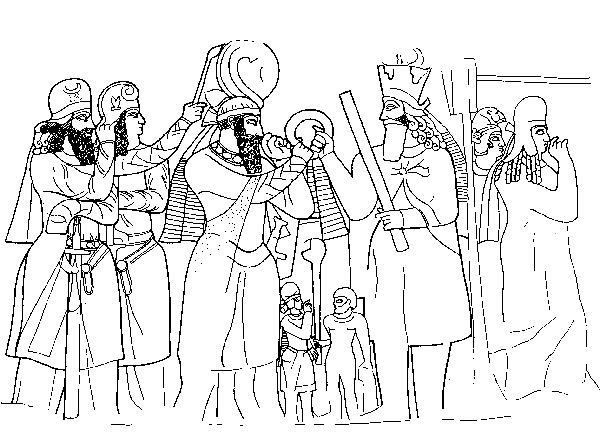 Naqš-e Rajab, investiture relief of Ardašir I, drawing