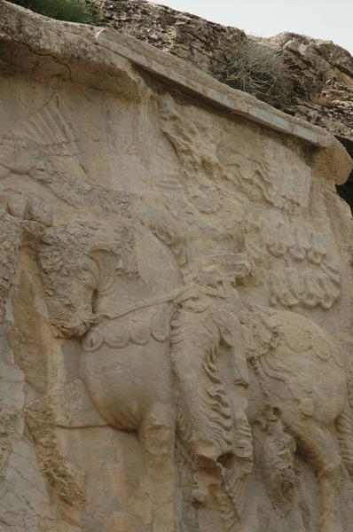 Naqš-e Rajab, investiture relief of Shapur I, damaged king