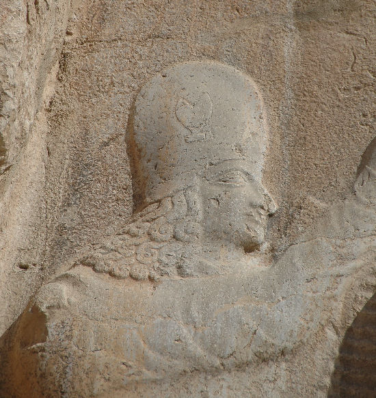 Naqsh-e Rustam, relief of Ardashir I, fly-whisk