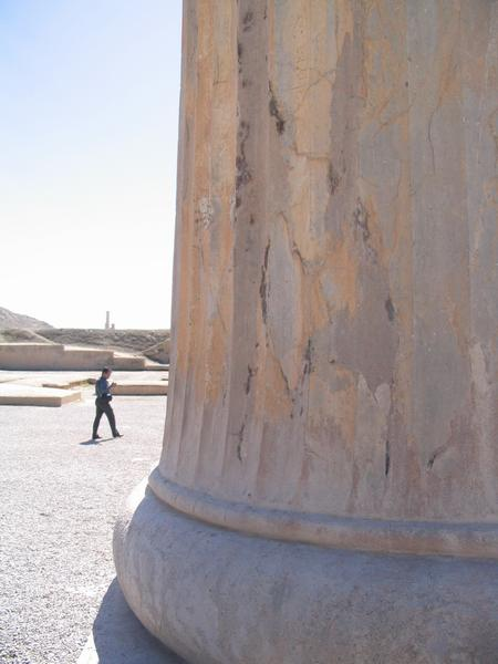 Persepolis, Apadana, column, traces of fire
