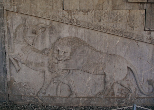 Persepolis, Apadana, East Stairs, northern part, lion and bull