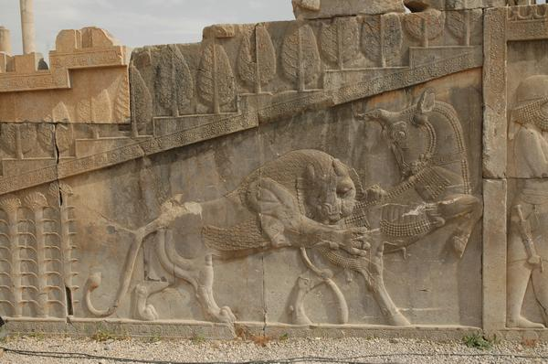 Persepolis, Apadana, North Stairs, relief of bull and lion