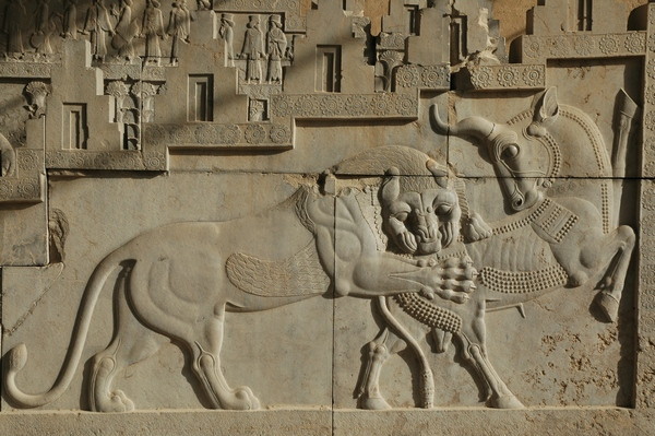 Persepolis, Tripylon, Northern staircase, Relief of bull and lion