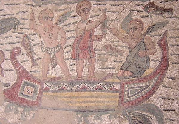 Piazza Armerina, 24 Guest Room. Mosaic of three fishing erotes