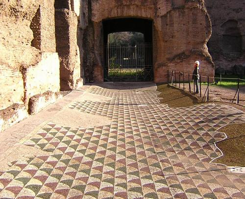 Rome, Baths of Caracalla, Abstract mosaic (1)