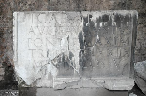Rome, Mausoleum of Augustus, tombstone of Tiberius