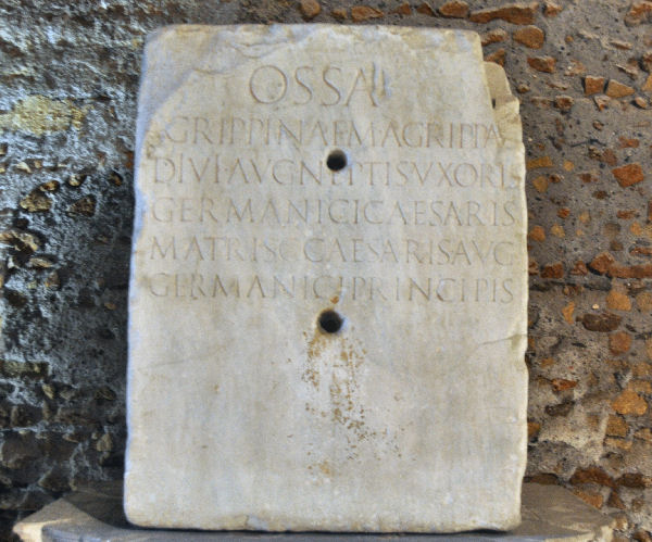 Rome, Mausoleum of Augustus, tombstone of Agrippina I