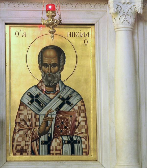 St Nicholas on an icon in the church of St Demetrius, Thessaloniki
