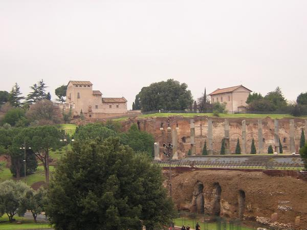 Rome, temple Elagabal (from the Colosseum)