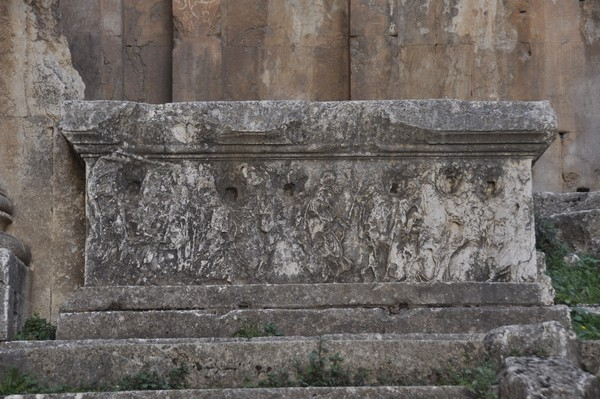 Baalbek, temple of Bacchus, cella, left parapet