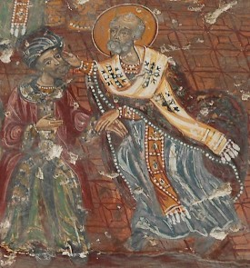 Nicholas strikes his opponent. Fresco from the Soumela Monastery (Turkey)