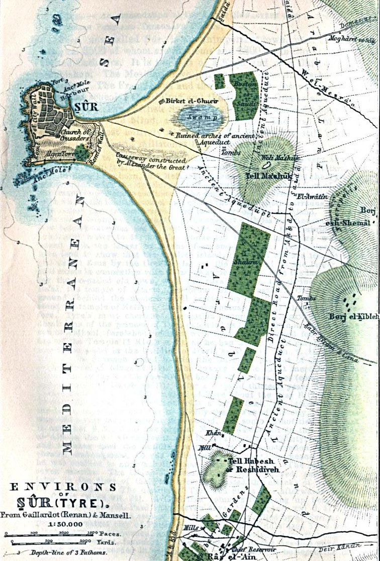 Tyre, City, Baedeker map