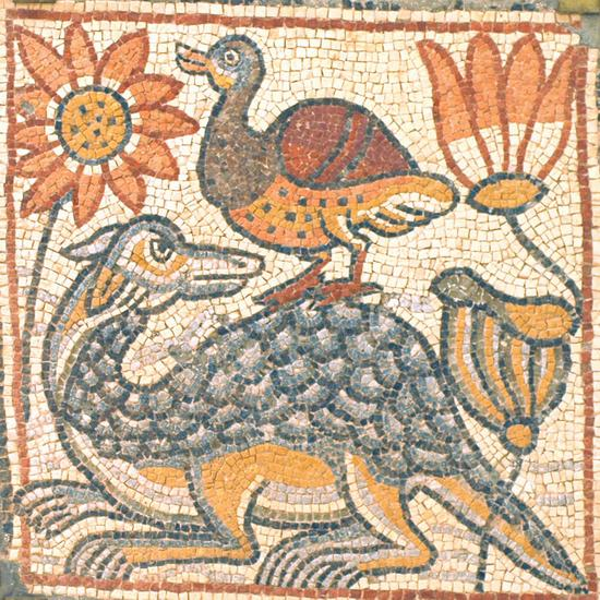 Qasr Libya, mosaic 1.04.e (Crocodile, duck, and lotuses)