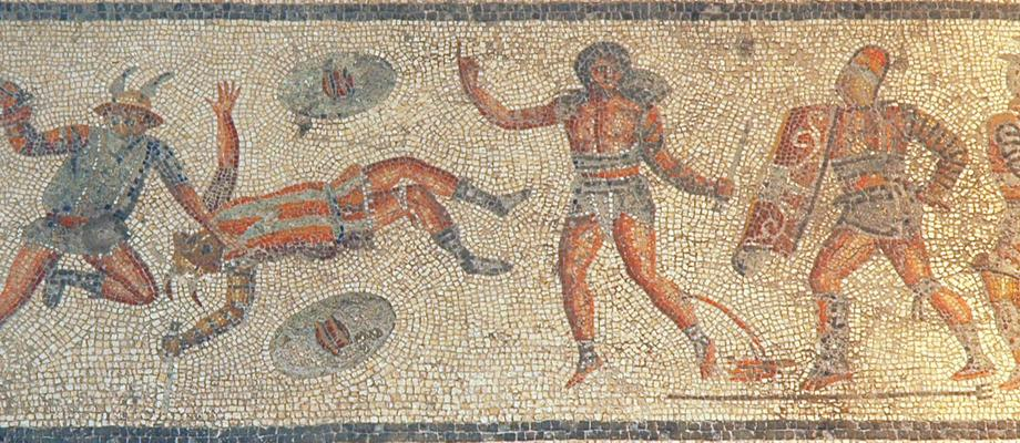 Villa of Dar Buc Ammera, gladiator mosaic, A wounded gladiator asks for release