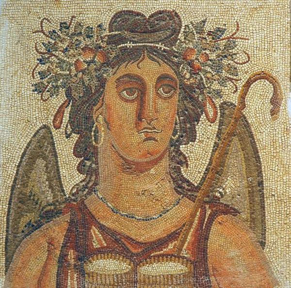 Villa of Dar Buc Ammera, seasons mosaic, Summer