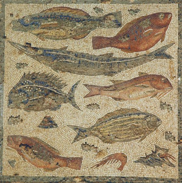 Villa of Dar Buc Ammera, seasons mosaic, fish (1)