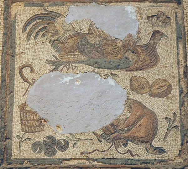 Villa of Dar Buc Ammera, seasons mosaic, land animals and birds (2)