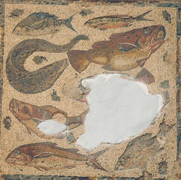 Villa of Dar Buc Ammera, seasons mosaic, fish (2)