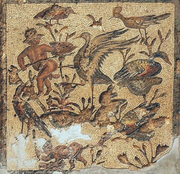 Villa of Dar Buc Ammera, seasons mosaic, Nilotic scene (2)