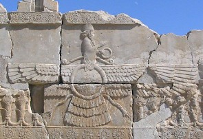 Faravahar, the visual aspect of Ahuramazda. Relief from Persepolis.